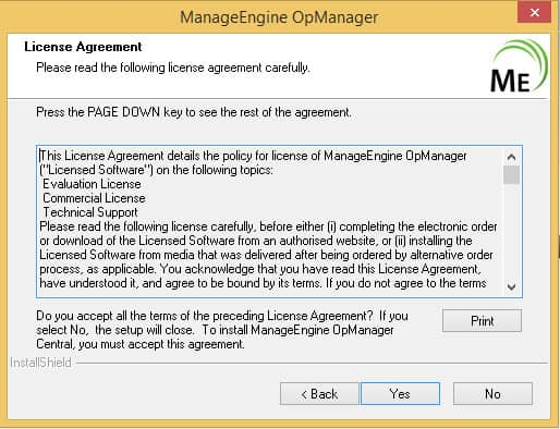 Manage Engine OpManager Setup