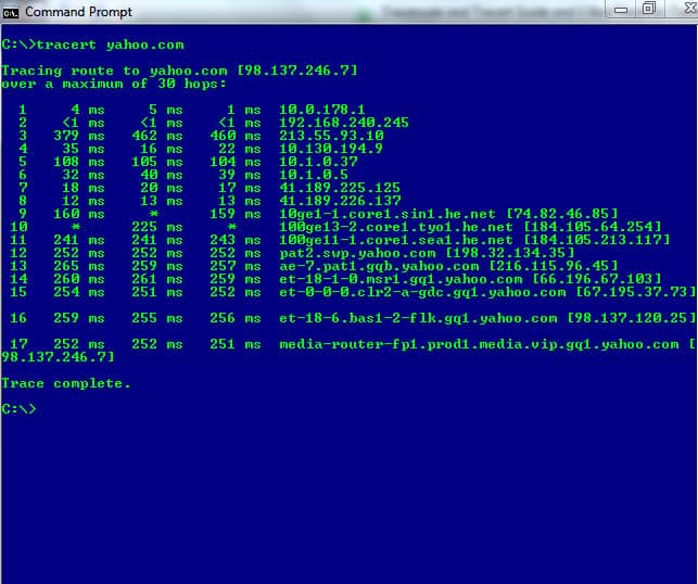 Windows CMD prompt - traceroute tracert