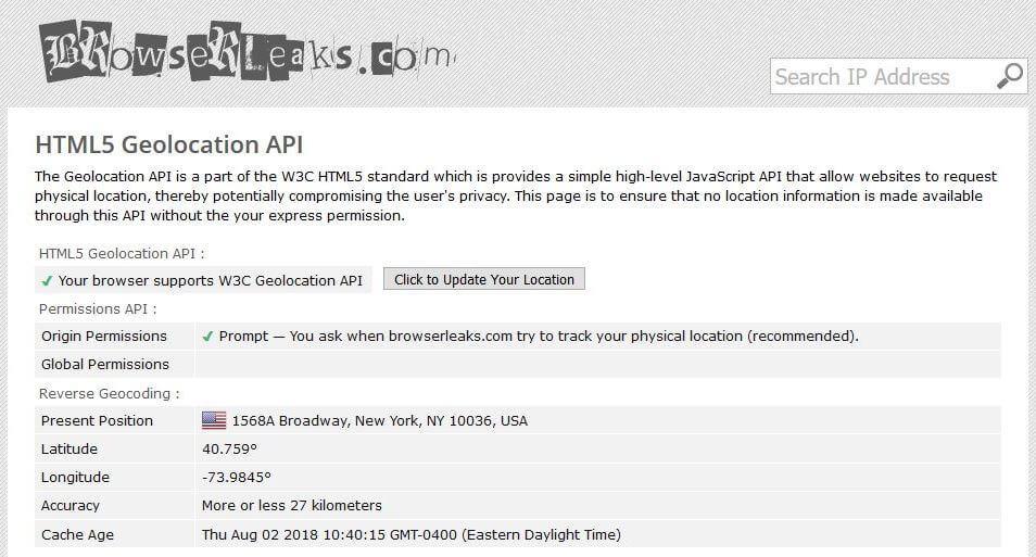 The Browserleaks.net test.