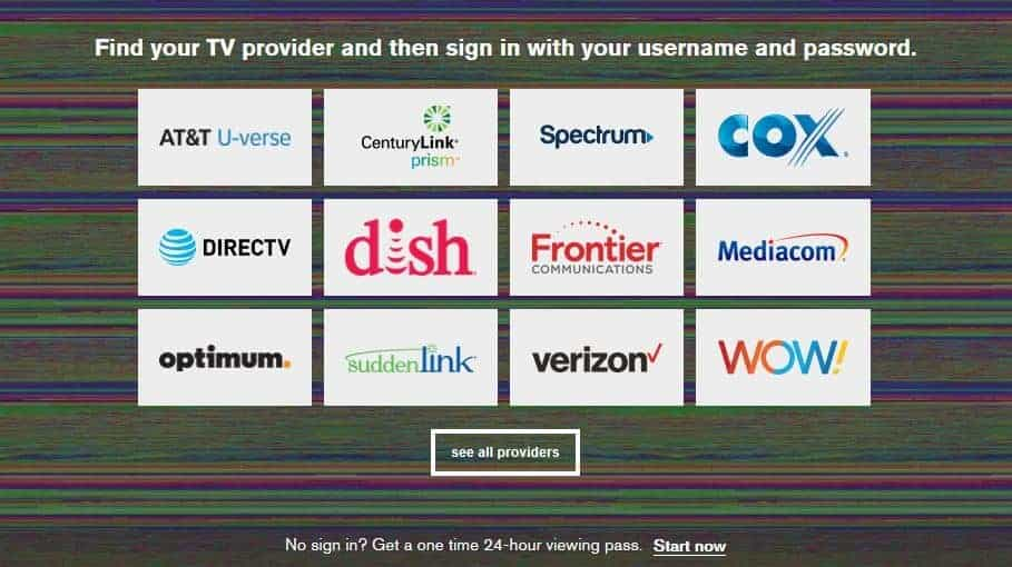 Cable provider signin page.