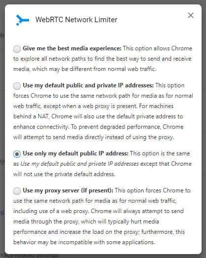 chrome webrtc limiter settings