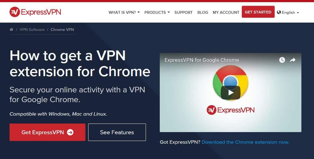 The ExpressVPN Chrome page.