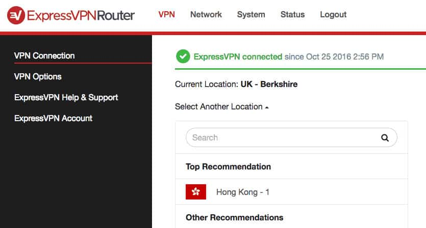 The ExpressVPN firmware interface.