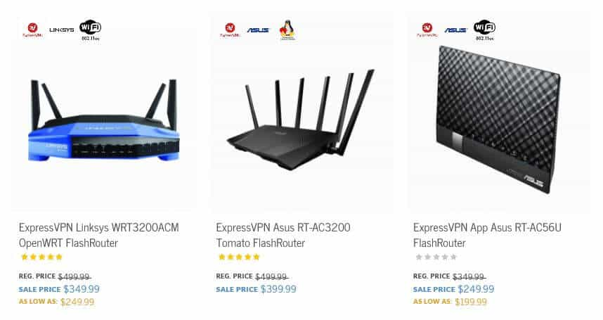 A selection of ExpressVPN routers.