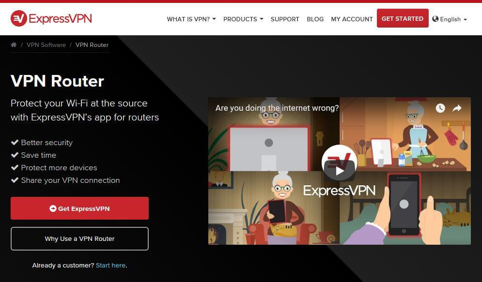 The ExpressVPN router page.