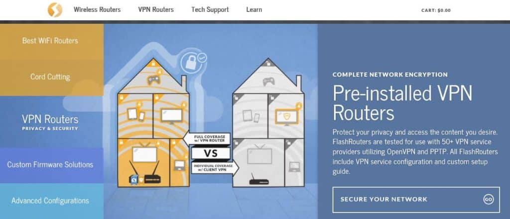 The FlashRouters homepage.
