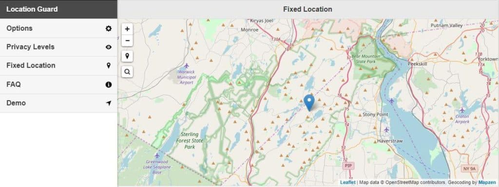 Location Guard Fixed Location page.