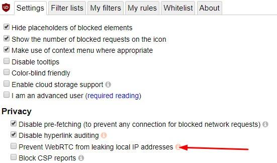 ublock origin webrtc