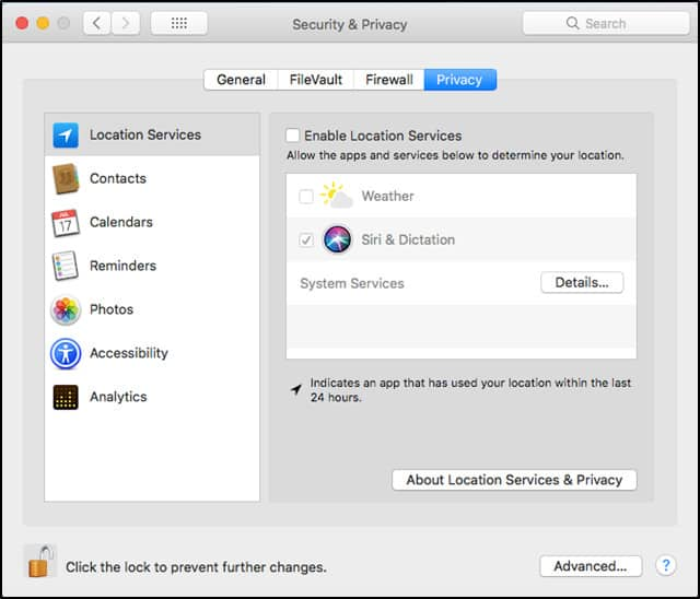 MacOS Location Services