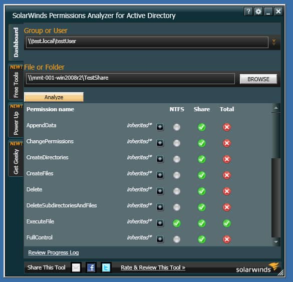 SolarWinds Permissions Analyzer for Active Directory Best Active Directory Tools