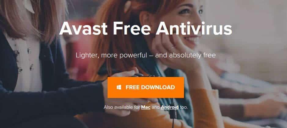 Avast Free Antivirus homepage.
