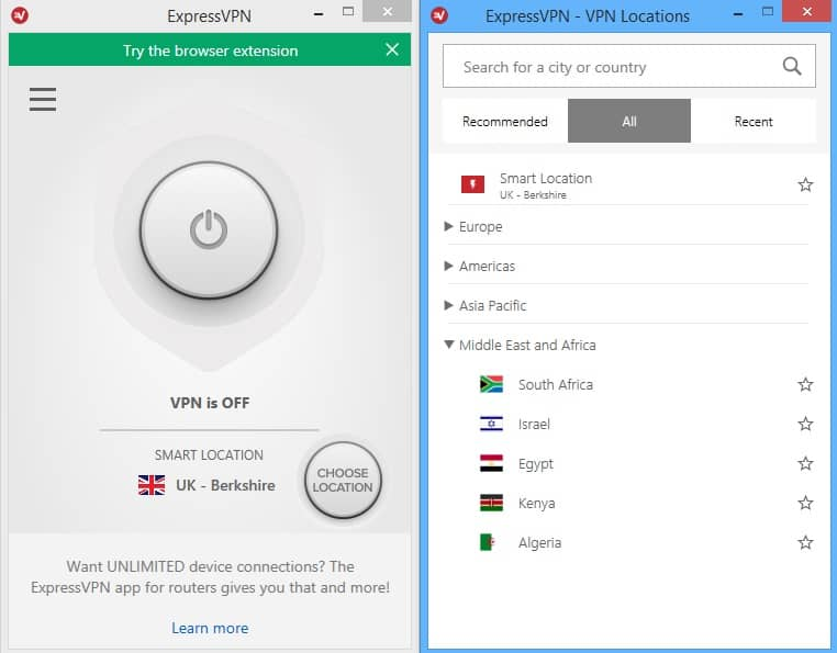 expressVPN home screen and locations
