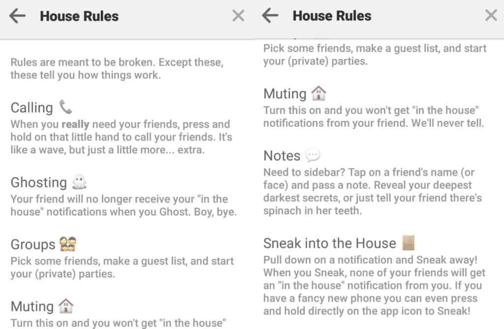 hosueparty house rules