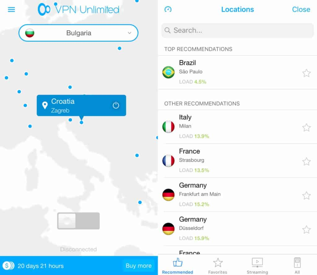 VPN Unlimited mobile main screen and server list.