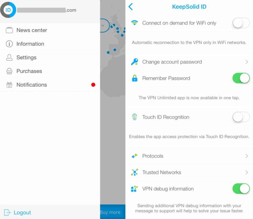 VPN Unlimited mobile settings.