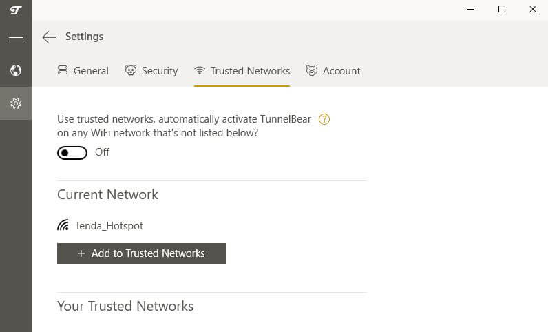 The TunnelBear Trusted Networks tab.