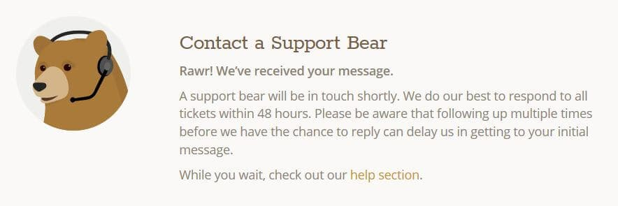TunnelBear customer support message.