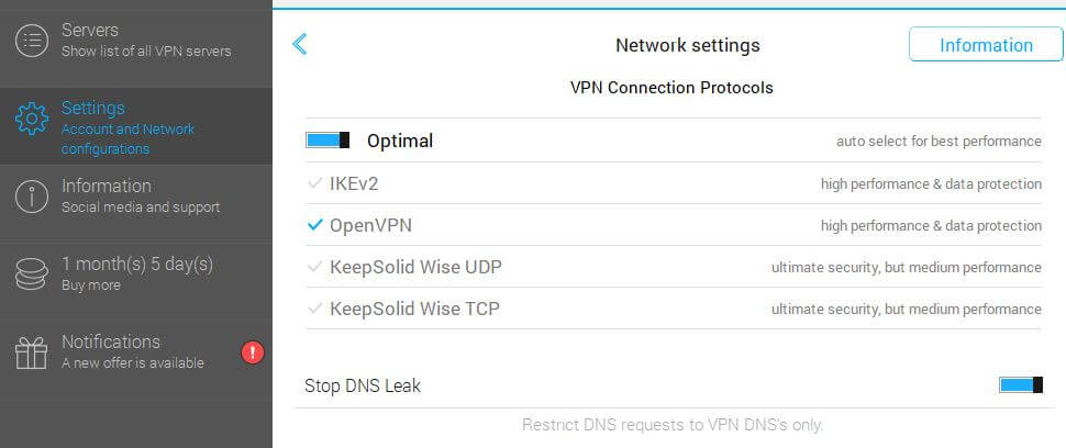 VPN Unlimited network settings.