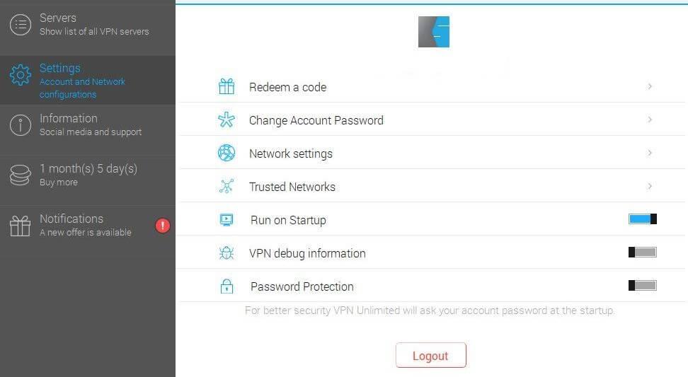 VPN Unlimited settings.