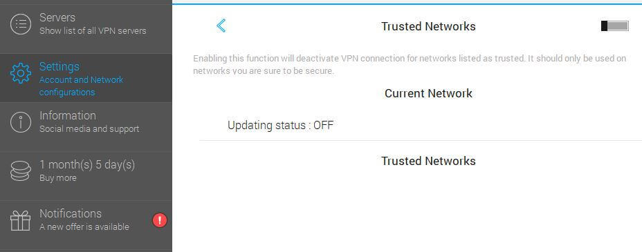 VPN Unlimited trusted networks.