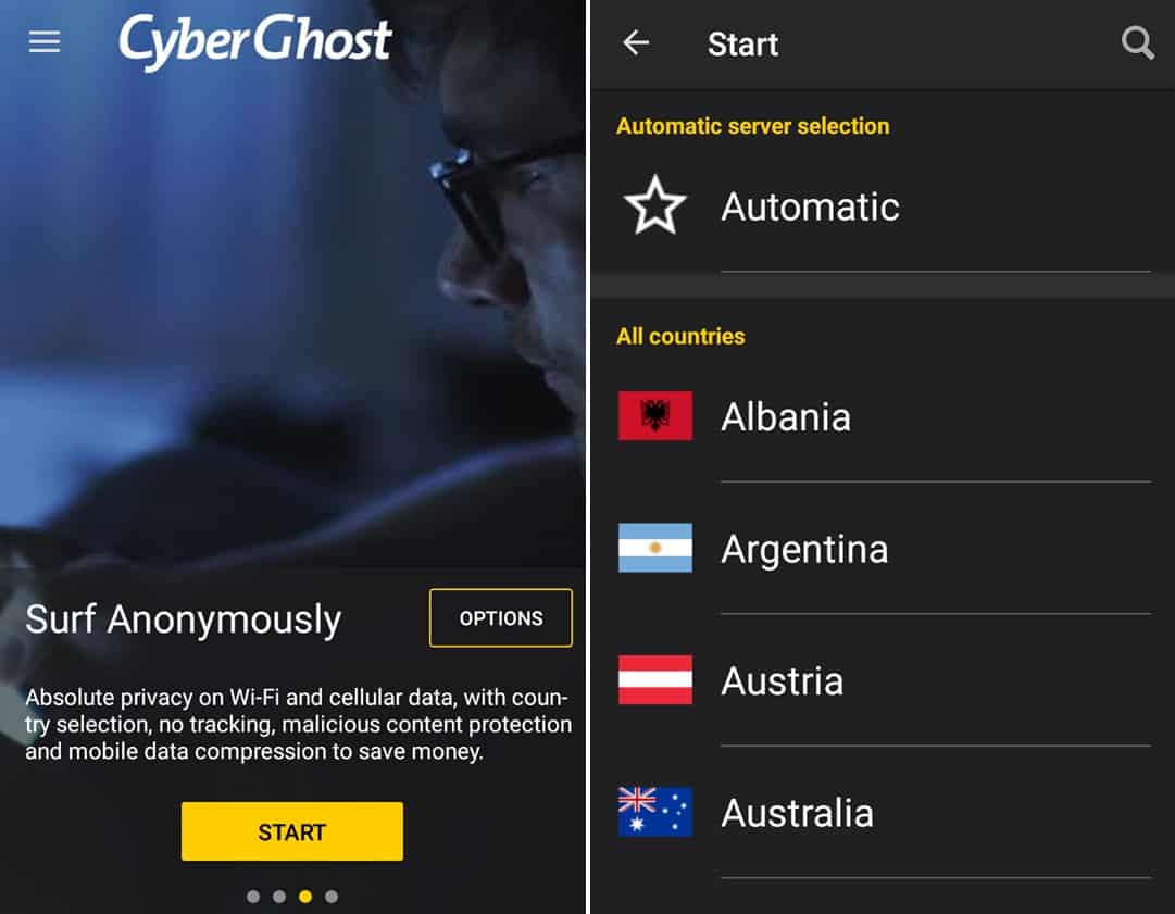 CyberGhost mobile app countries