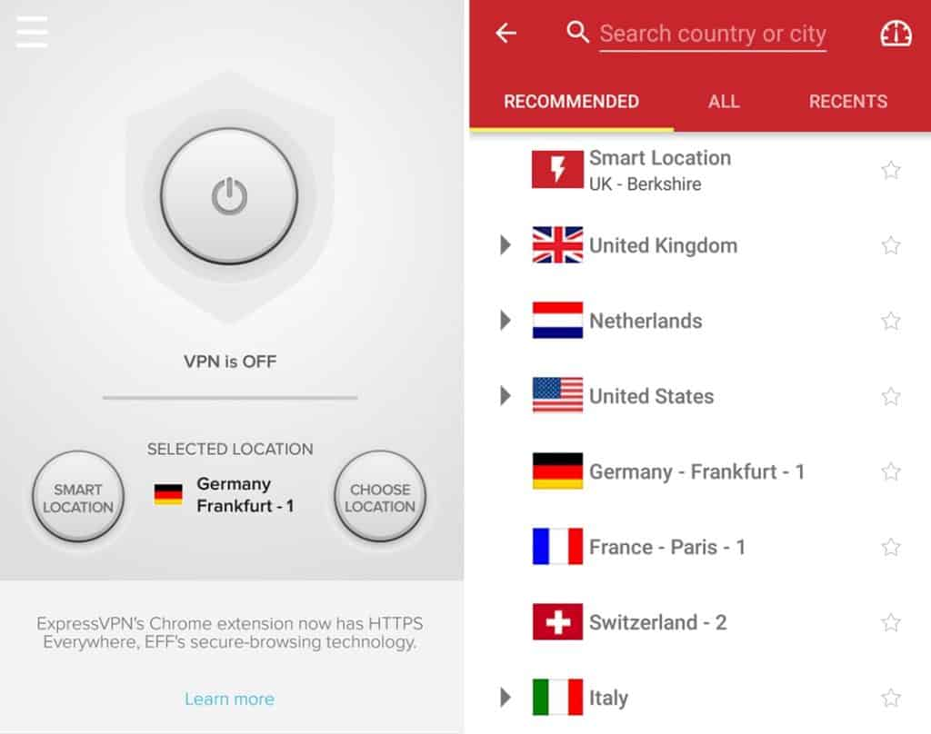 ExpressVPN mobile app countries