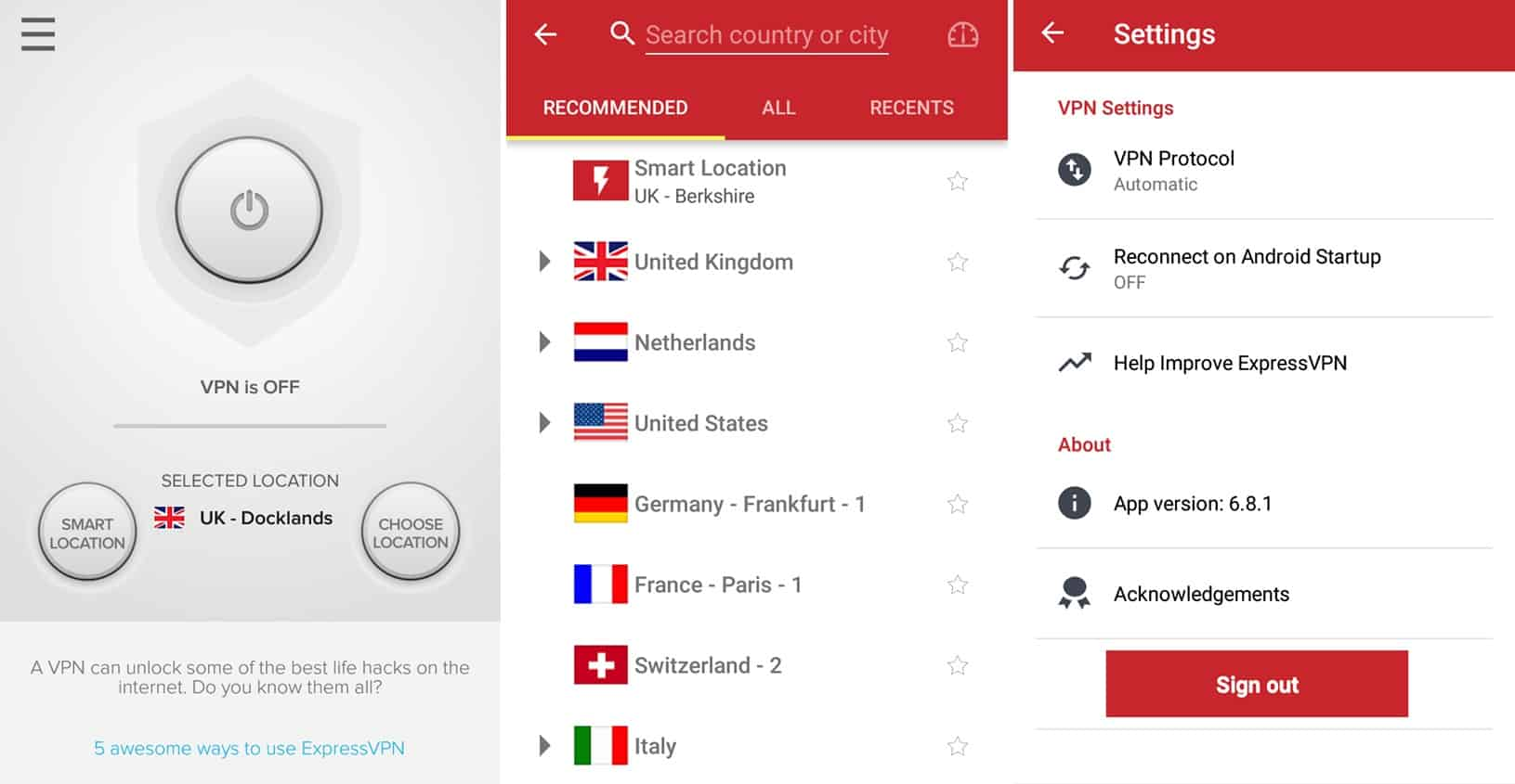 ExpressVPN mobile app screens