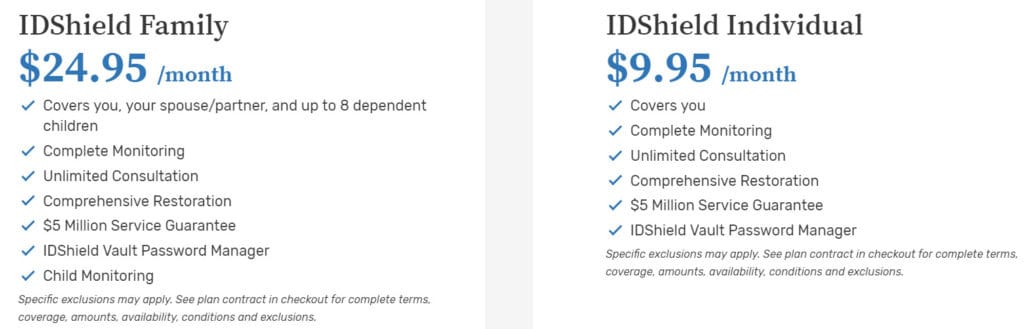 IDShield pricing