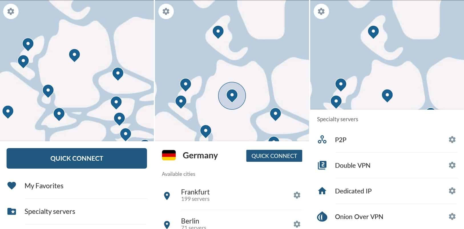 NordVPN mobile app screens