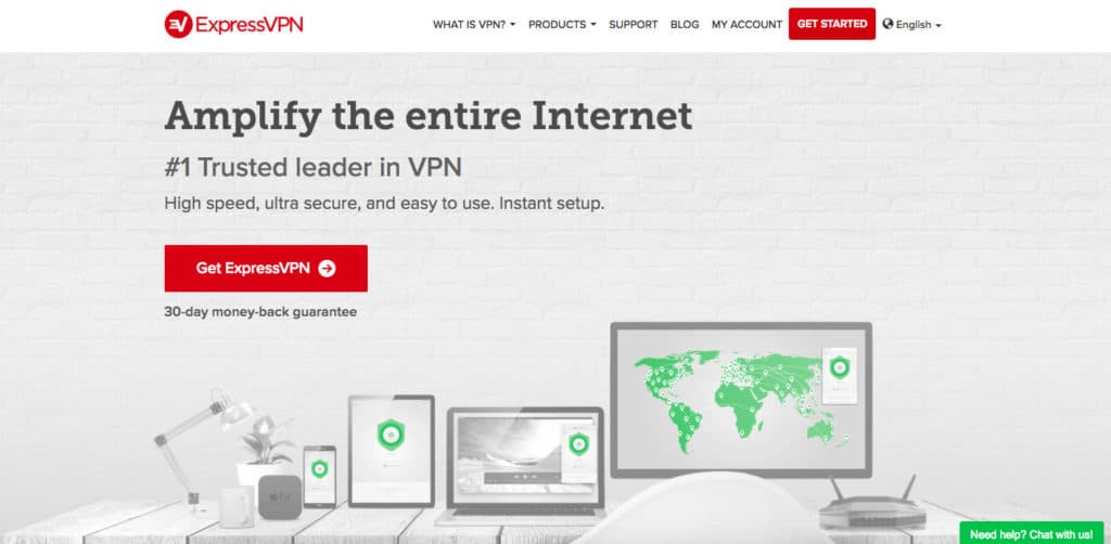 ExpressVPN homepage screenshot