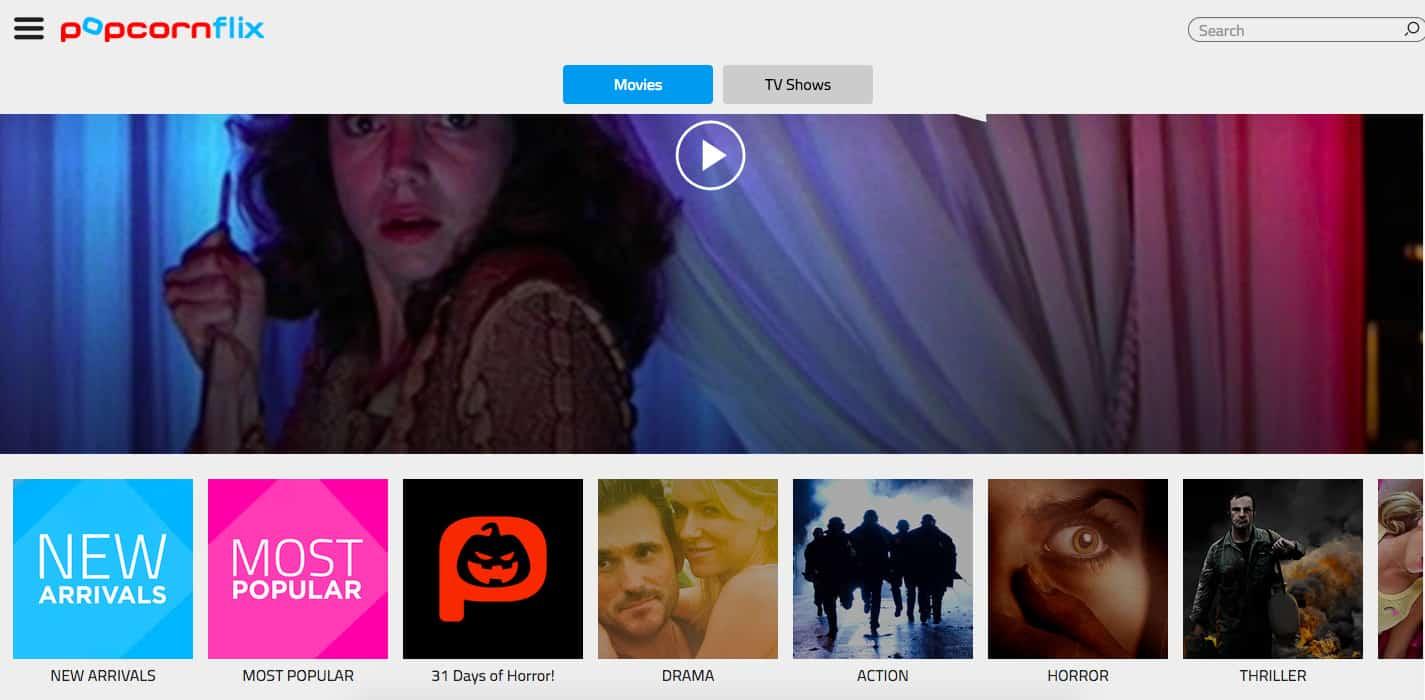 Popcornflix homepage screenshot