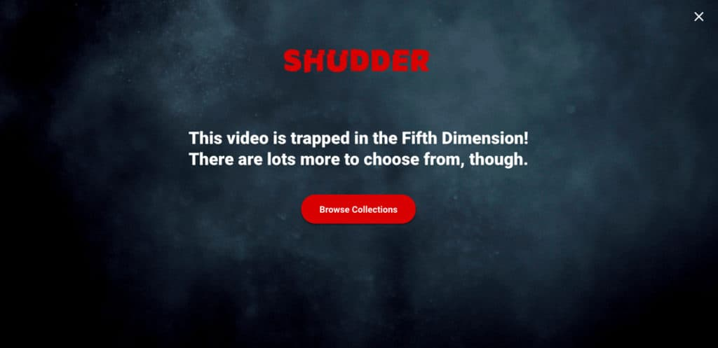 Shudder error message
