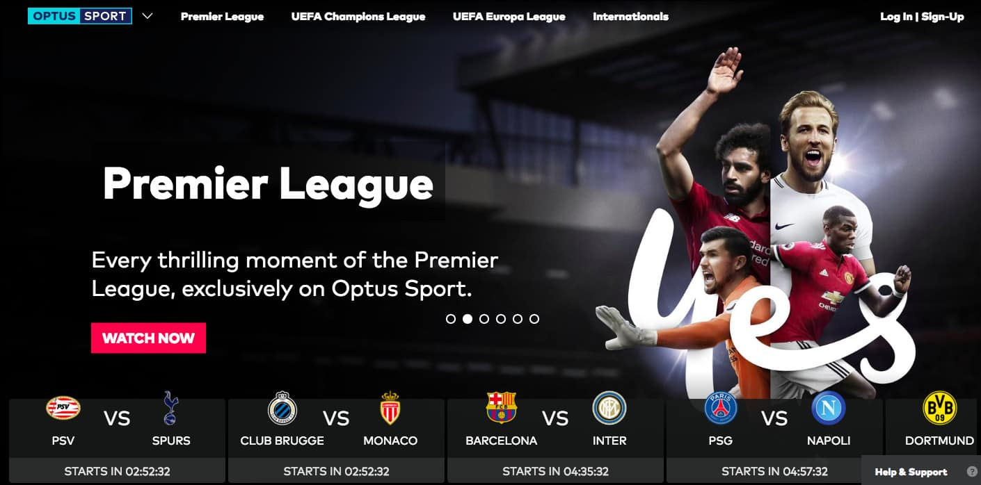 Optus Sport screenshot hompeage