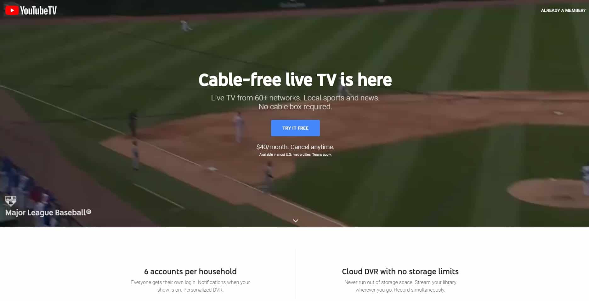 Youtube TV screenshot
