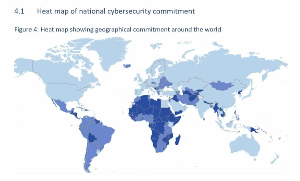 Heat map of cybersecurity commitment.