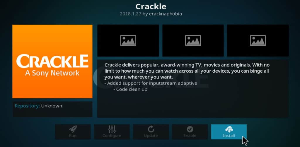 install crackle for kodi