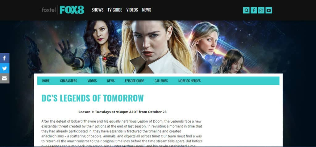 legends of tomorrow foxtel 8