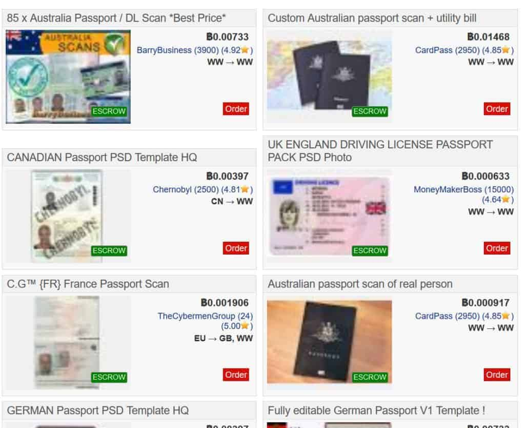 passports sold on dark web