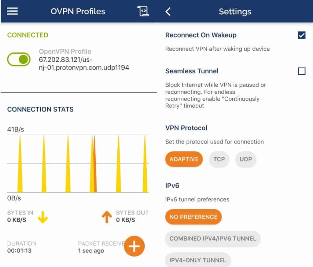 ProtonVPN mobile app.