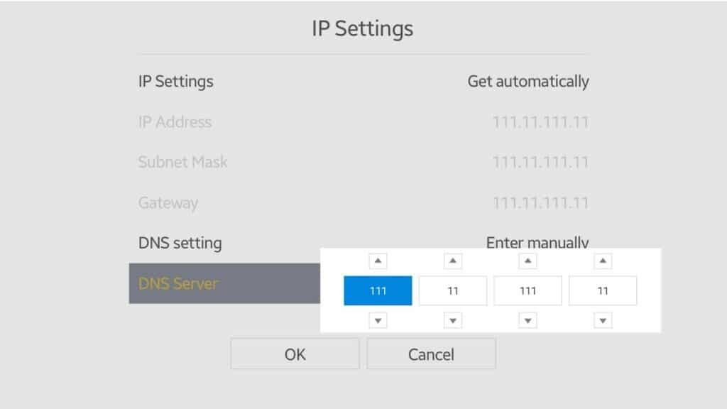 Samsung smart TV DNS configuration