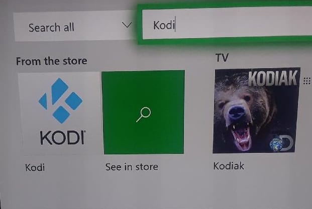xbox one kodi search