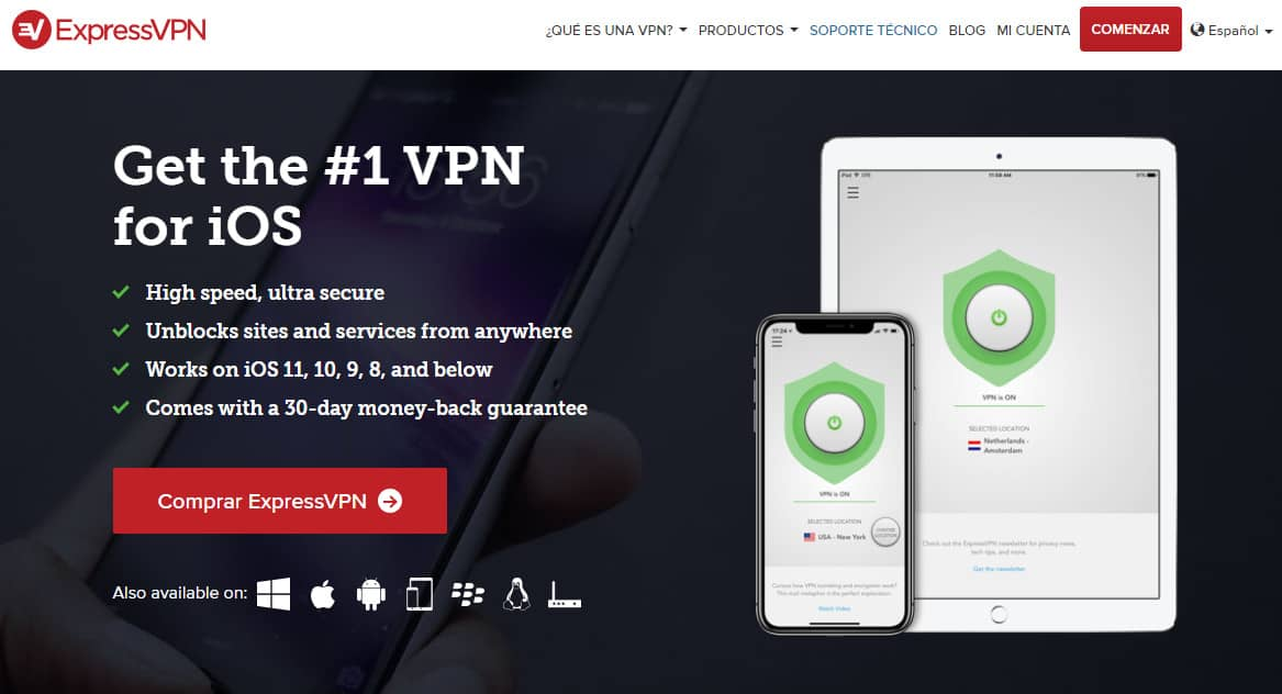 ExpressVPN iOS Spanish