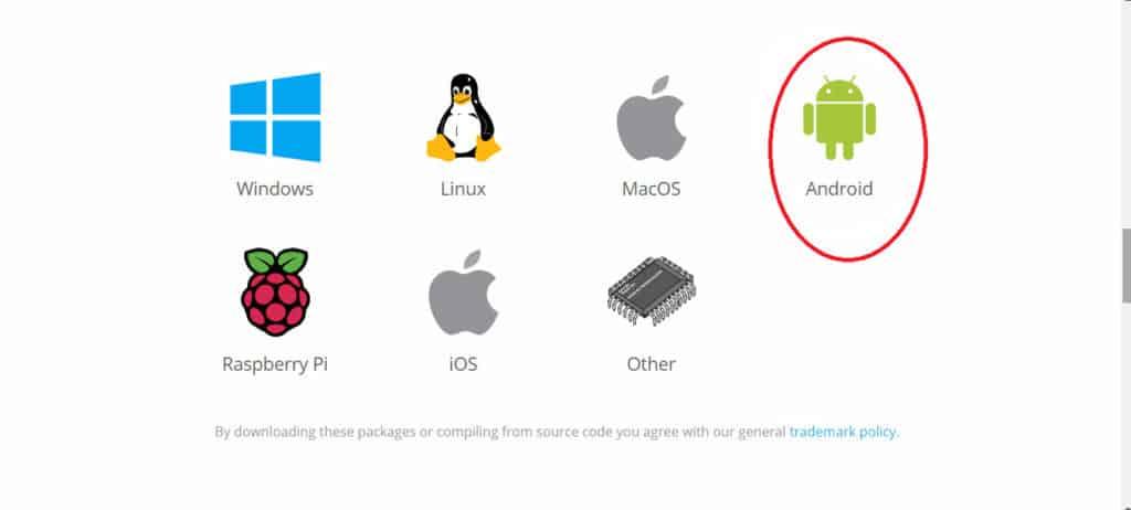 Kodi select Android