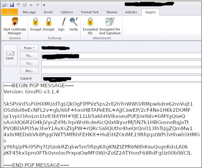How to use PGP encryption with Outlook using Gpg4win