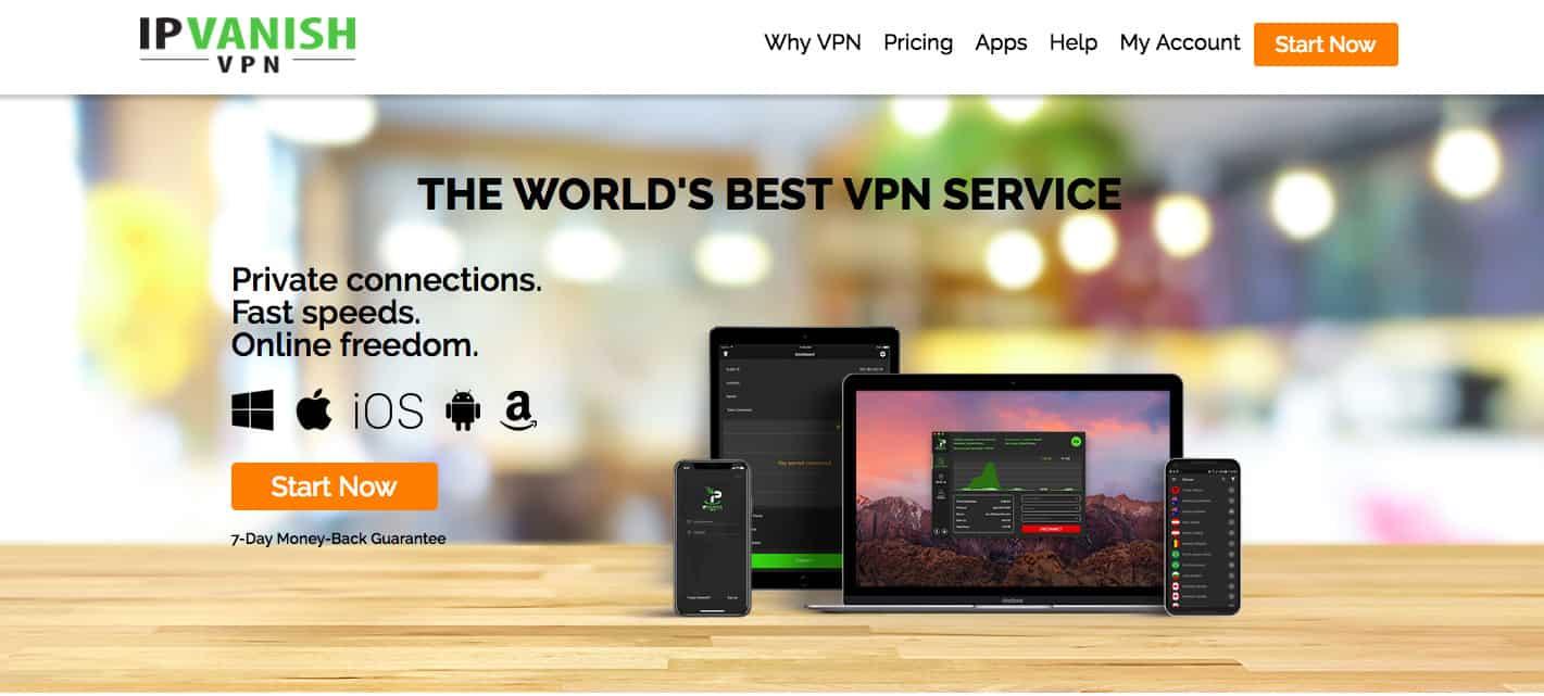 IPVanish homepage screenshot