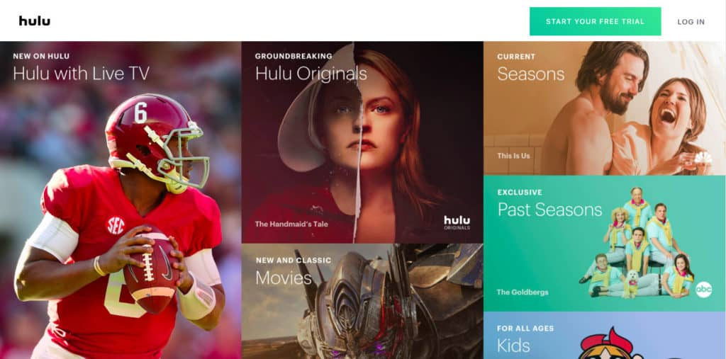 Hulu homepage screenshot