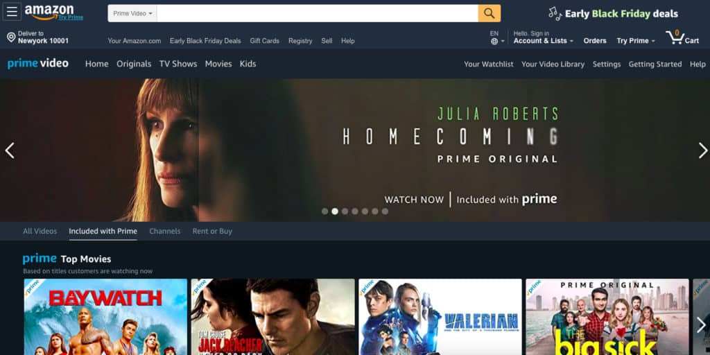 Amazon Prime Video homepage screenshot