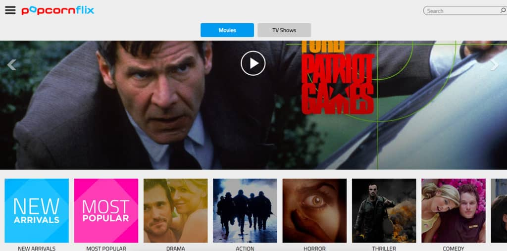 Popcornflix homepage screenshot