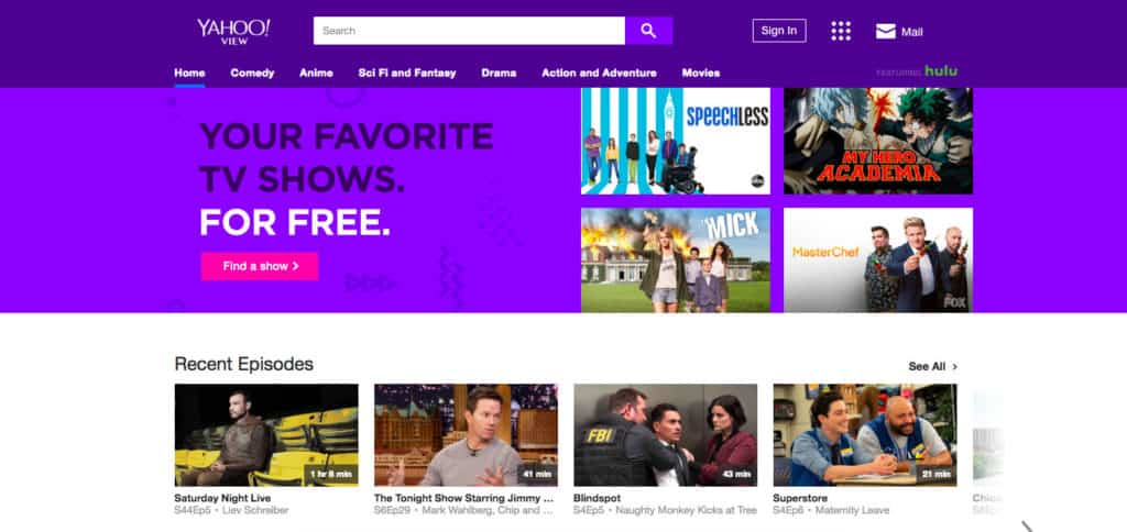 Yahoo View homepage screenshot