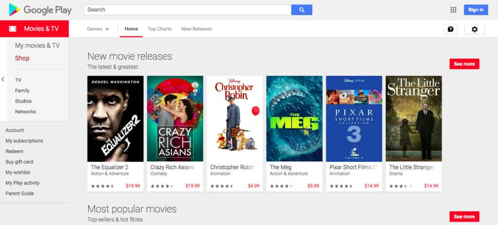 Google Play movies screenshot